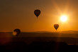 hot air balloons at sunset - freedom and adventure concept