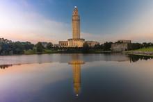 Louisiana State Capitol, Baton Rouge, Louisiana At Dusk