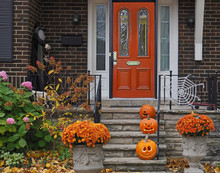 Front Porch With Halloween Decorations