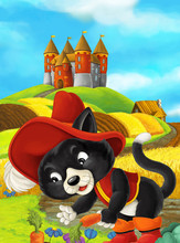 Cartoon Scene Of A Cat Traveling To A Beautiful Castle - Illustration For Children