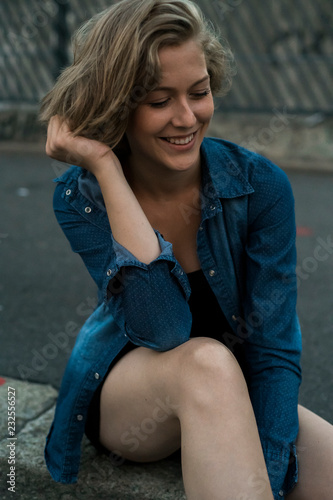Smiling girl in the city