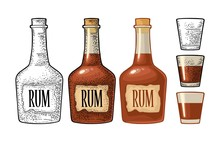 Bottle And Glass Rum With Craf...