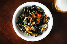 Bowl Of Mussels Steamed In Win...