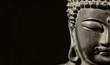 Buddha statuette in the act of meditating (Black and White with copy space)