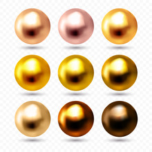 Rose, Pink, White Gold, Copper And Bronze Spheres Isolated On Transparent Background, Vector Illustration.