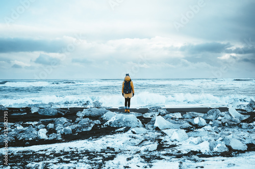 Canvas Print Girl on Diamond Beach in Iceland