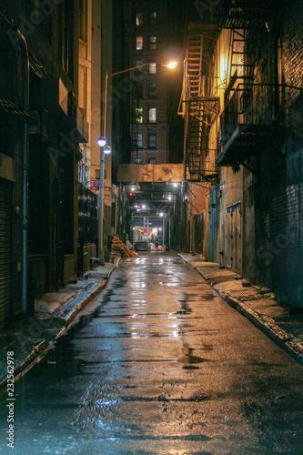 Fotografija night alley after rain