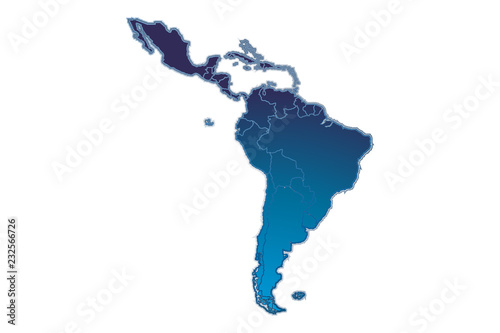 Silueta azul de Latinoamérica.