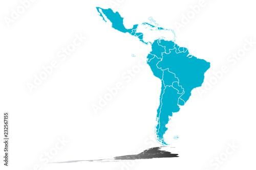 Fototapeta  Silueta azul de Latinoamérica.