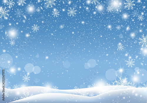 Christmas background design of snow falling winter season vector illustration Fototapet