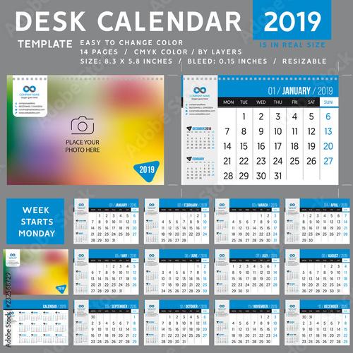 Desk calendar 2019  desktop calendar template  Week starts