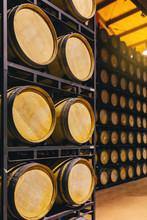 Wine Barrells In A Big Winery