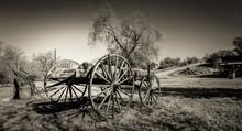 Rustic Wagon In Field - Sepia
