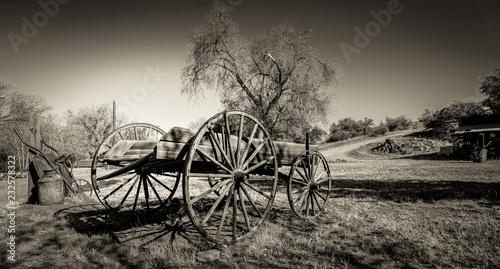 Fotografering  Rustic Wagon in Field - Sepia