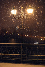 Street Light On A Fresh Snowy Night