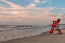 Lifeguard Chair On The Beach In The Early Morning, St Simons Island, GA