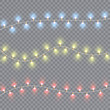 Christmas lights isolated on transparent background. Xmas glowing garland. Sparks glitter special light effect. Vector illustration.
