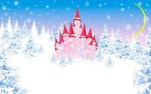 Pink Castle On The Background Of The Winter Forest 1