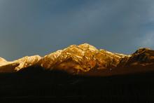 Golden Mountain At Sunset