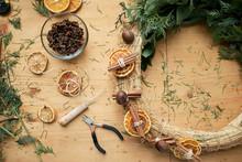 Handmade Xmas Wreath On Table