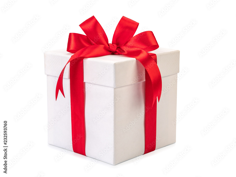 Fototapeta White gift box with red ribbon bow, isolated on white