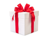 White Gift Box With Red Ribbon...