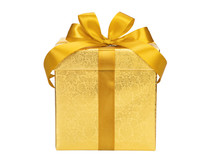 Golden Gift Box With Ribbon Bow On White Background