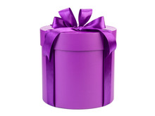 Round Purple Gift Box With Bow Isolated On White Background