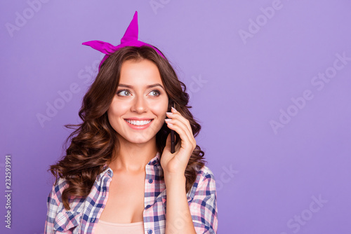 Fotografia Gorgeous nice adorable good-looking grinning positive lady with