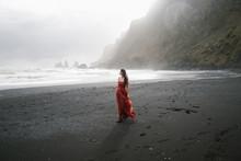 Yang Women In A Red Long Dress...