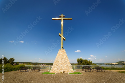 In de dag Monument Poklonnaya cross standing on Tsaryov Kurgan, Russia.