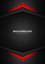Abstract Red And Black Color Gradient Contrast Tech Arrows Background. Vector Illustration Corporate Design