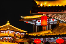 XiAn,China.ancient Architecture With Red Lanterns At Night,close-up