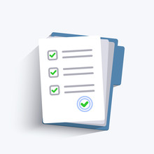 Paper Checklist Isolated. Stack Of Paperwork Icon. Pile Of Documents. Exam Form. Folder And Stack Of White Papers. Vector Illustration In Flat Design.