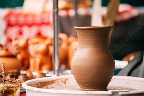 Pottery Craft Wheel And Ceramic Clay Pot. Traditional New Handma