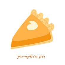Pumpkin Pie Hand Drawn Vector Illustration Of A Series Of Recipes With Pumpkin