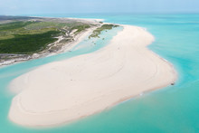 Aerial View Of Turquoise Tidal Flats Waters