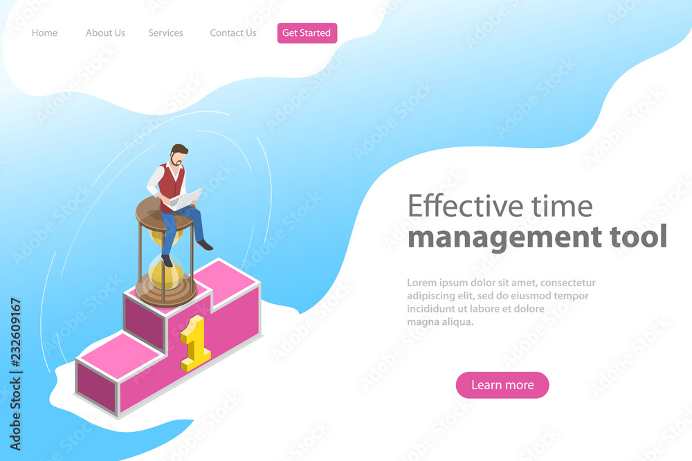 Photo & Art Print Isometric flat vector landing page template for