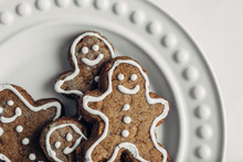 Gingerbread Man Cookies On A Plate