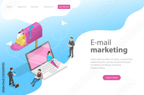 Photo  Isometric vector landing page template for e-mail marketing, product promoting, advertising campaign, digital promotion