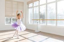 Girl Dancing In Ballet Studio