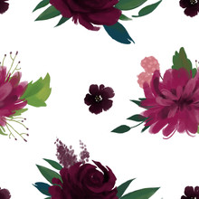 Seamless Pattern With Pink Burgundy Marsala Flowers And Leaves