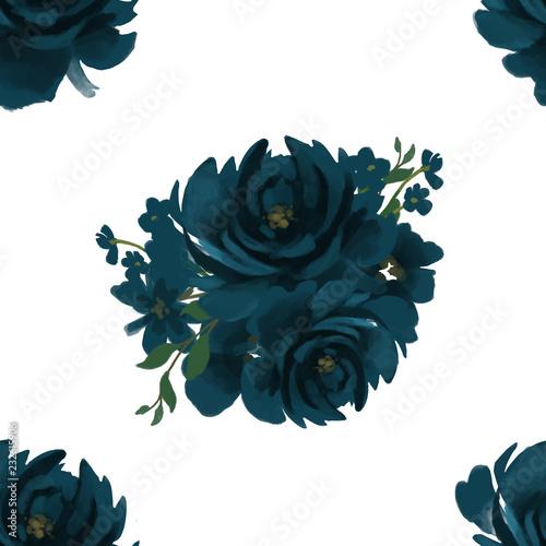 Fotografia, Obraz  Seamless Indigo Navy deep blue pattern floral pattern for wallpaper or fabric or