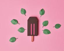 Paper Craft Ice Cream Over Background