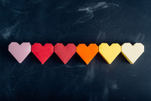 Rainbow Paper Hearts In A Row