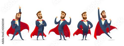 Cuadros en Lienzo Businessman in a superhero costume