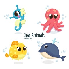 Illustration set of Cute Sea Animal Character with Cartoon Style