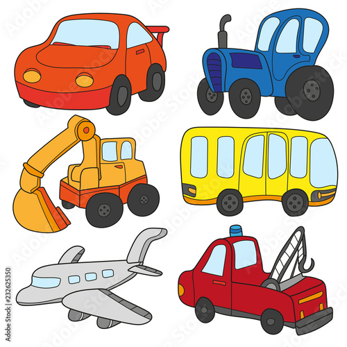 Cartoon cars collection. Vector of Transportation theme with Car, truck, bus