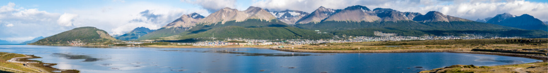 Skyline of Ushuaia with Martial mountains and Beagle Channel, Terra del Fuego, Patagonia, Argentina