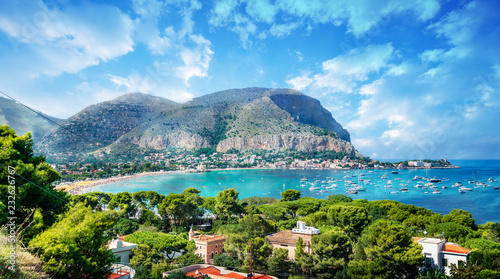 Spoed Foto op Canvas Palermo View of the gulf of Mondello and Monte Pellegrino, Palermo, Sicily island, Italy